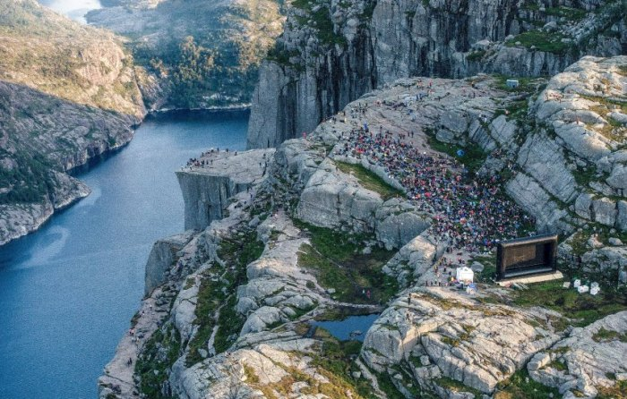 The Pulpit Rock in Forsand featured in Mission Impossible movie, Norway - 01 Aug 2018